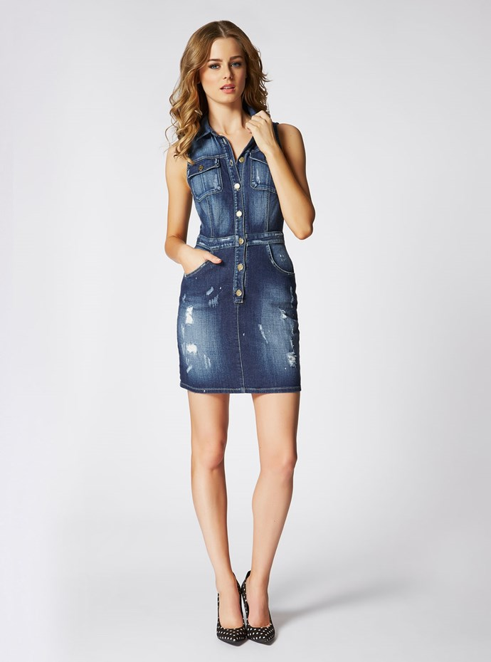 "<p/>Get your vintage fix with this modern take on an 80s classic. <p/> Amelie Denim Dress <p/> Shop the look <a href=""http://shop.guess.net.au/fashion-trends/originals"">here</a>."