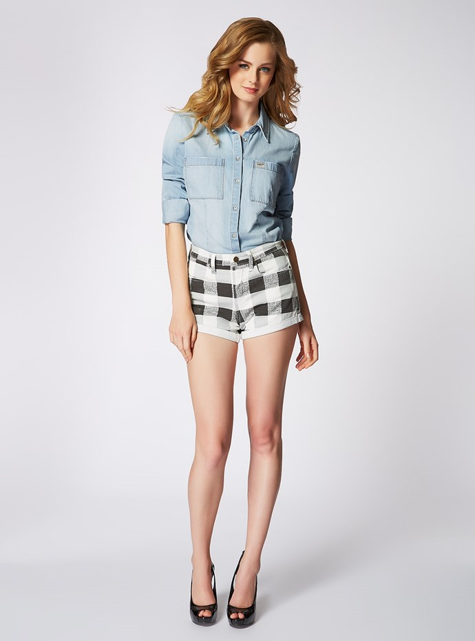 "<p/>Gingham is always sexy without question. Pair it with denim for a throwback Claudia would rock. <p/> Charlotte Shirt in Prescott Wash 1981 Gingham High Rise Denim Shorts <p/> Shop the look <a href=""http://shop.guess.net.au/fashion-trends/originals"">here</a>."
