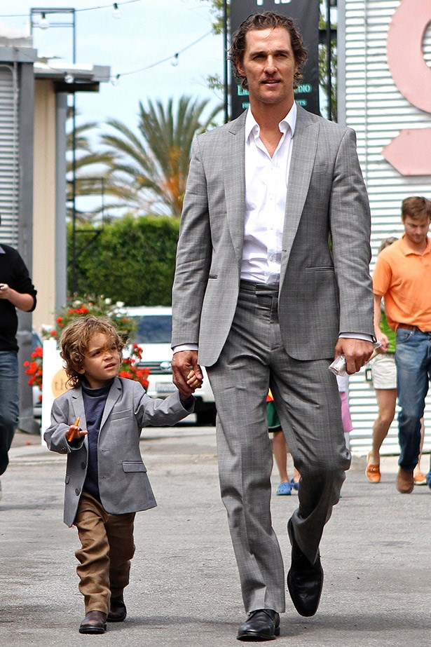 Father of three, Matthew Mcconaughey and son Levi suit up in matching jackets.