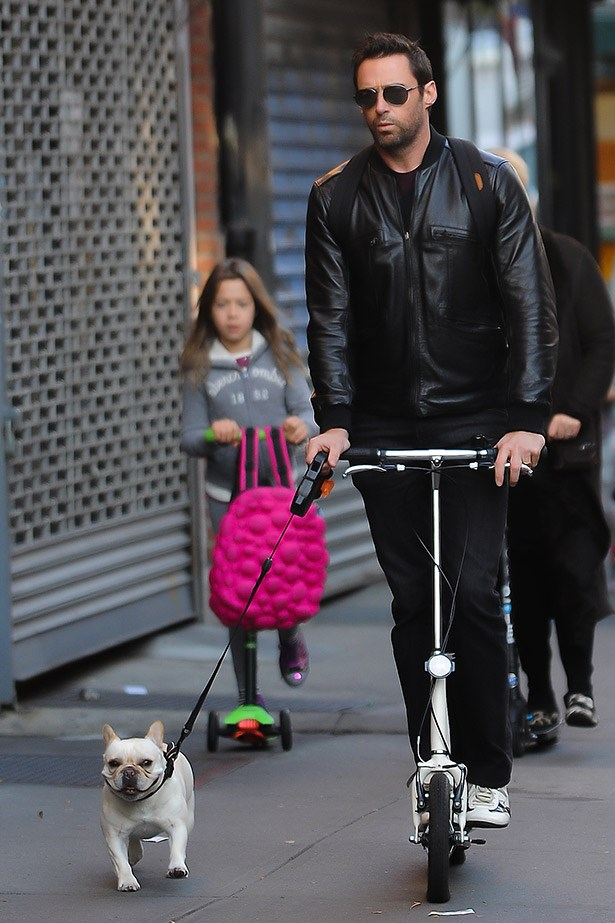 Does it get any better than Wolverine (Hugh Jackman) on a scooter, walking his dog with his daughter, Ava, in tow?
