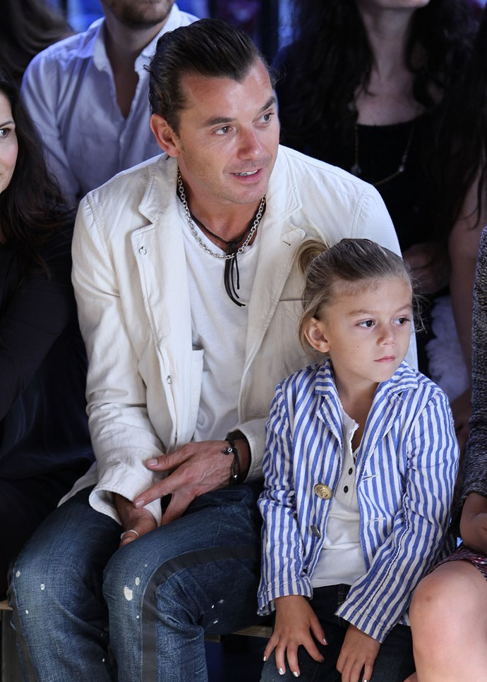 Here, Gwen Stefani's husband, Gavin Rossdale gives his second son Zuma (one of three) a fashionable education at London Fashion Week. Important.