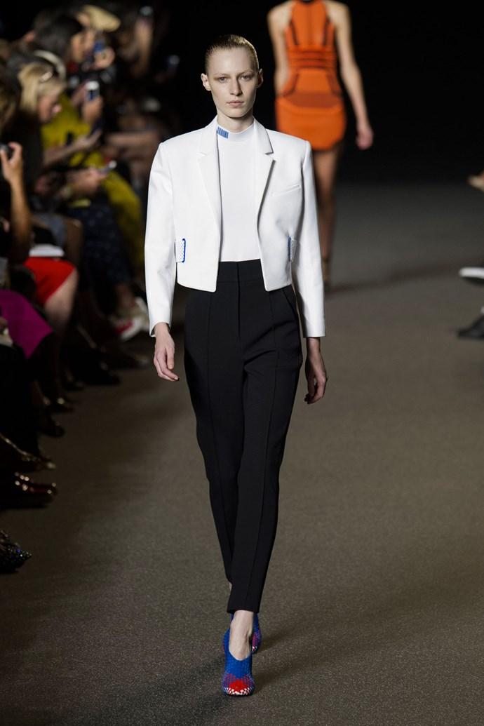 Julia Nobis in Alexander Wang SS15 runway show at New York Fashion Week