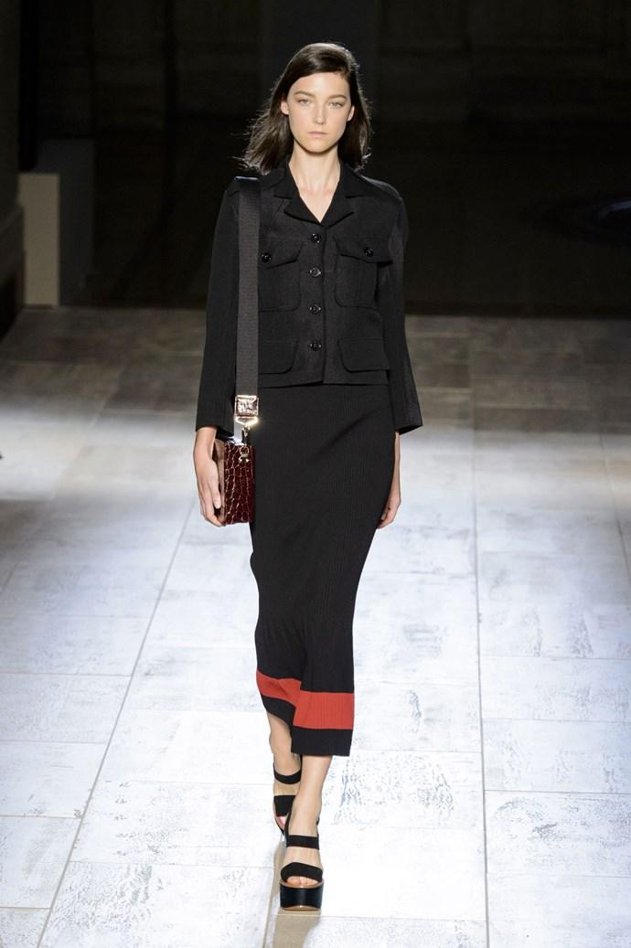 Stephanie Joy Field in Victoria Beckham SS15 runway show at New York Fashion Week