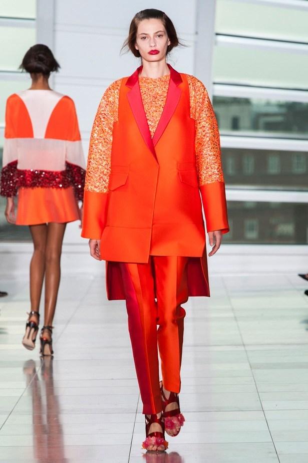 Cassie Van Den Dungen in Antonio Berardi SS15 runway show at London Fashion Week