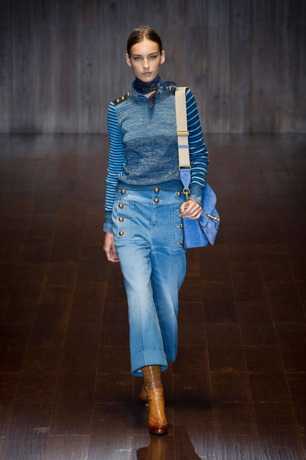 <strong>Gucci</strong> <br><BR> Channelling a very 70s vibe (more on that to come)Gucci's variation was low-slung, cropped and rolled up mid-calf. Gucci also showed lace up denim dresses and cool jean jackets.