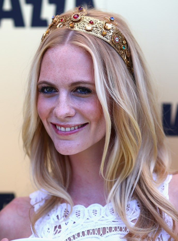 Poppy Delevingne wearing a jewelled Dolce & Gabbana headband.