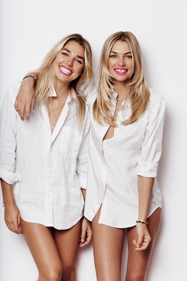 Model Jess Hart and sister Ashley prepare for Bright Pink Lipstick Day
