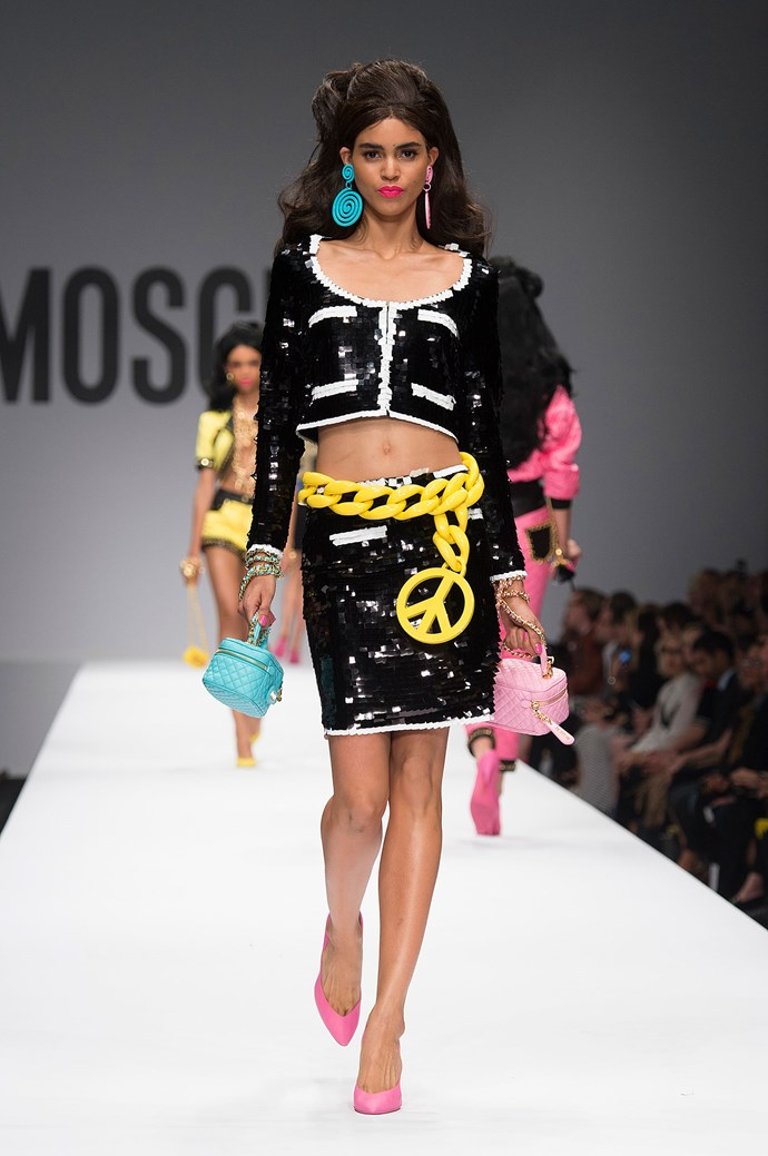 <strong>Moschino</strong><br><BR> When your muse is Barbie, there's bound to be some sparkle, no? For Moshino's SS15 show, designer Jeremy Scott looked to the 55-year-old doll's enviable wardrobe for inspiration and thus, showed fluro pink pieces as well as some super standout sequin numbers.