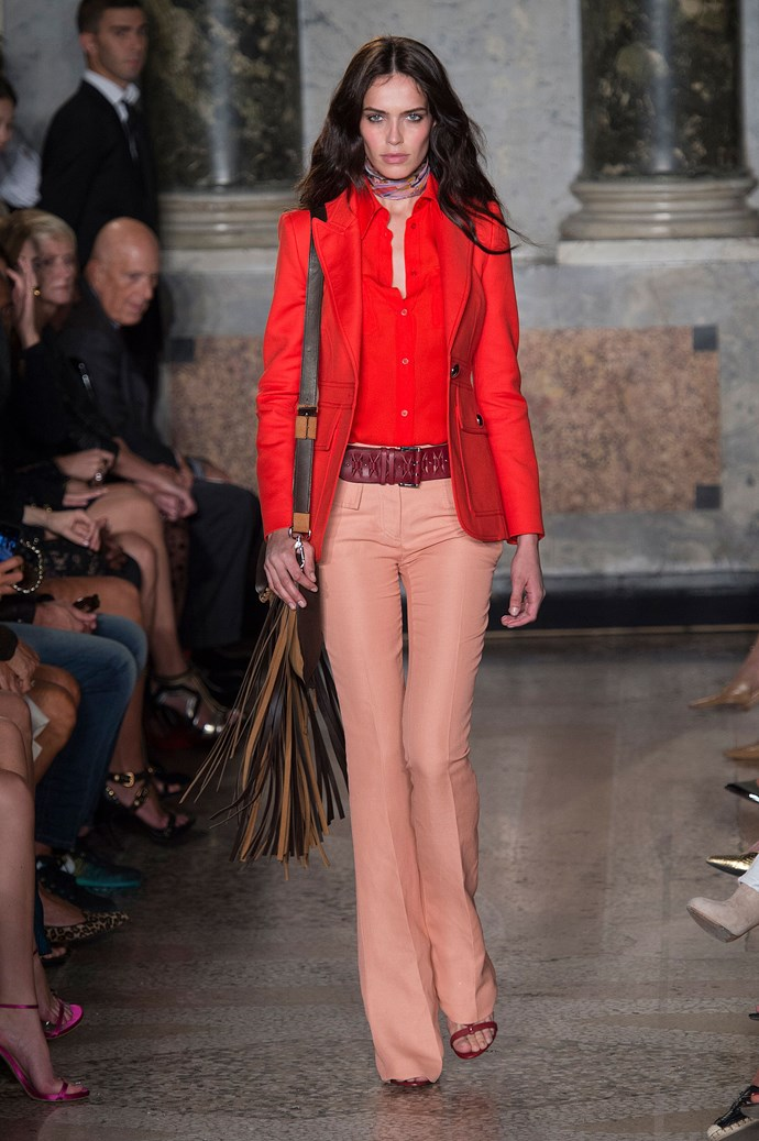 <strong>Emilio Pucci </strong><br><BR> Along with beaded mini dresses and suede boots, the flared pants and sharp tailoring at Emilio Pucci  set a clear '70s mood.