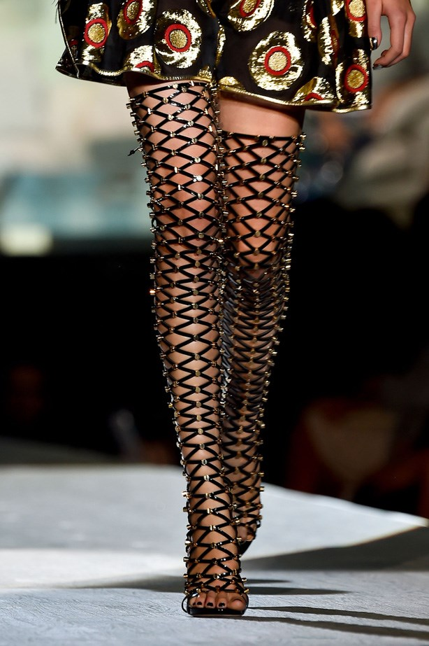 Thigh-high caged stilettos at Dsquared²
