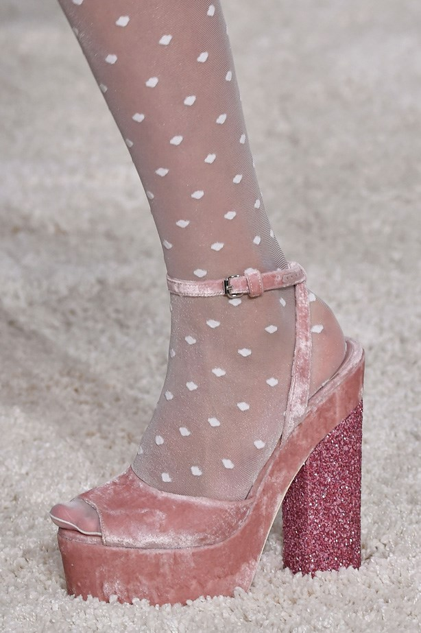 Glitter stacked heels and pretty-in-pink velvet at Giambattista Valli's label Giamba