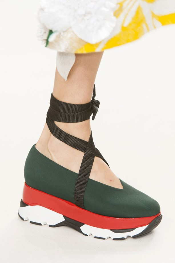 Sporty-looking platforms with ankle wraps at Marni