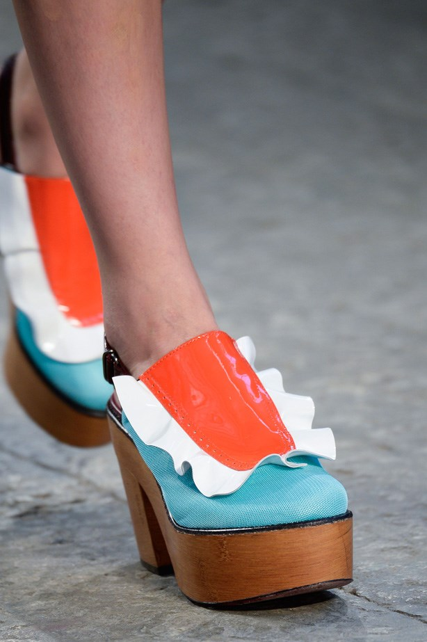 But not before also showing these colour-blocked clogs