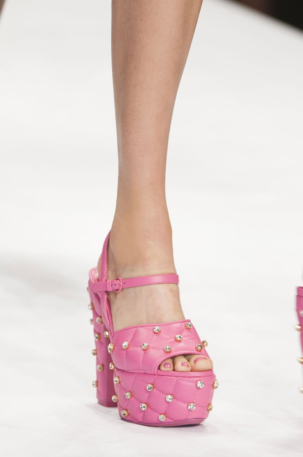 Barbie's pink quilted heels hit the runway at Moschino