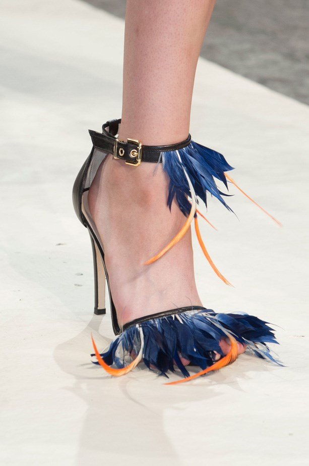 At MGSM, the catwalk was aflutter with feathered details on slides and ankle strap heels
