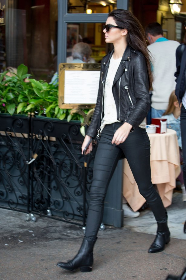 Skinny black jeans + ankle boots + leather biker = a tried and true model off-duty uniform.