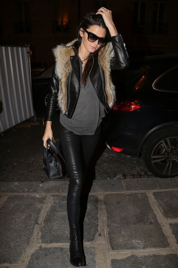 Another classic off-duty model look for Ms Jenner. This time, leather skinnies and a fur collar add after-dark glamour to her otherwise low-key outfit in Paris.