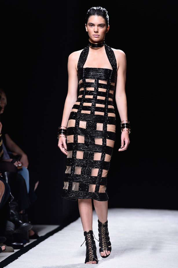 A peek-a-boo dress at Balmain was both a sexy and sophisticated choice for the 19 year old Kendall.
