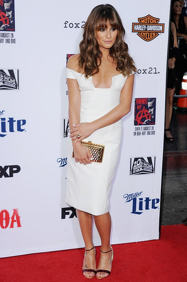 Lea Michelle looked chic in this understated white number in September at the <em>Sons Of Anarchy</em> premiere in Hollywood.