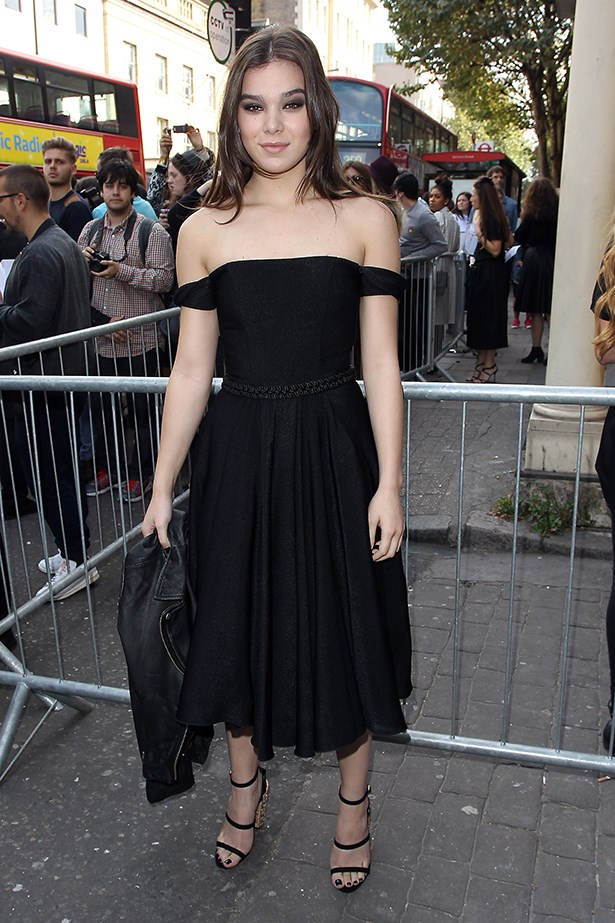 Hailee Steinfeld made an elegant entrance at London SS15 fashion week thanks to this classic LBD.