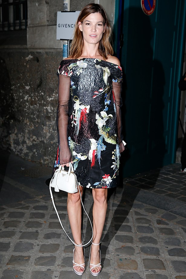 Blogger Hanneli Mustaparta gave the cold shoulder during Paris SS15 fashion week in this botanical printed number.