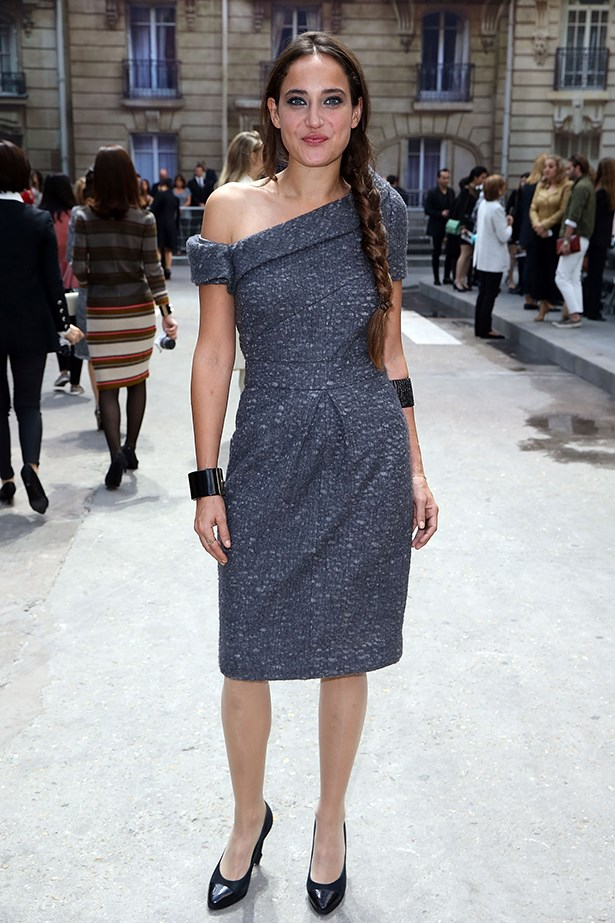 French author Claire Berest looked chic at the Chanel SS15 show thanks to her grey off the shoulder shift.