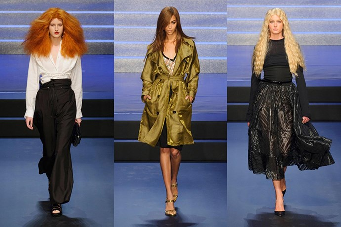 "4. Jean Paul Gaultier said farewell in the most flattering way to his favourite fashion editors, sending sartorially inspired looks down in his <a href=""ttp://www.elle.com.au/runway/ready-to-wear/ss15/2014/9/jean-paul-gaultier-ss15/"">SS15 runway</a>. Left to right: Grace Coddington, Carine Roitfeld and Franca Sozzani."