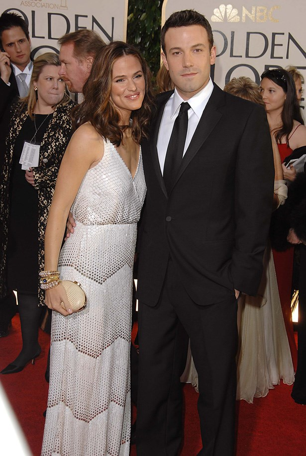 Ben Affleck and wife Jennifer Garner on the red carpet at the Golden Globe Awards in 2007