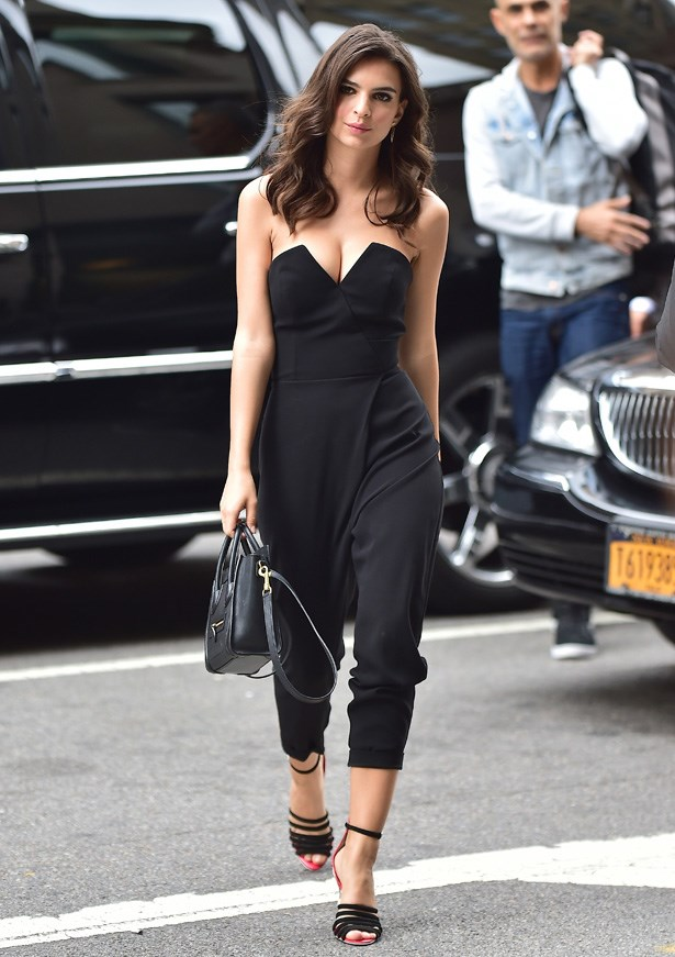Emily Ratajkowski on her way to shoot <em>Live with Kelly and Michael</em> in New York, wearing a simple black jumpsuit