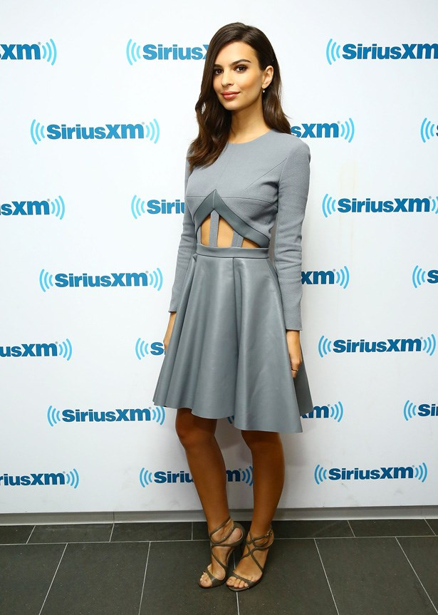 Emily Ratajkowski, wearing David Koma, visits the <em>SiriusXM Studios</em> in New York