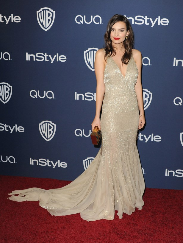 Emily Ratajkowski attends the<em> Instyle and Warner Bros. Golden Globes After-Party </em>wearing a stunning embellished Roberto Cavalli gown