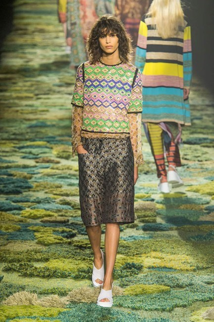 "Dries Van Noten <BR> ""I rarely steer from black, white and navy ensembles in stiff, sporty fabrics from Aussie label Scanlan Theodore, but after trawling runway images from New York through to Paris, I'm hooked by a season boasting print and lightweight fabrications. Dries Van Noten kicked it all off with a forest full of flimsy sheer silks and striped organza with a hippy vibe twist. Burberry, Erdem and Preen By Thornton Bregazzi also won my heart.""<BR> Amanda Spackman, digital product manager"