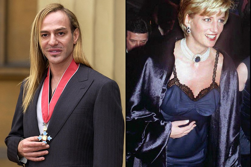 He has the royal seal of approval. <br/> <br> <br> (Pictured left: John Galliano receiving a Commander of the British Empire award from Queen Elizabeth II at Buckingham Palace in London. Pictured right: Princess Diana wearing a piece from Galliano's first Dior collection to the Metropolitan Museum of Art, in New York, for the Costume Institute Ball in 1996)