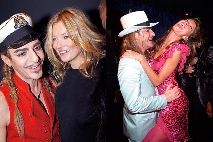 His work is supported by some very famous friends <br> <br> <br> (Pictured left: John Galliano and Kate Moss attend the Christian Dior Ready to Wear Spring/Summer 2011 show. Pictured right: John Galliano and Gisele Bundchen at the 'Dior Addict Anonymous' party in 2002)
