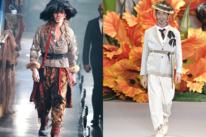 With a penchant for dressing up, we think the designer will fit right in to the world of white lab coats at Margiela. Professor John, anyone? <br> <br> <br> (Pictured left: John Galliano menswear fall/winter 2011. Pictured right: Christian Dior couture fall/winter 2010)