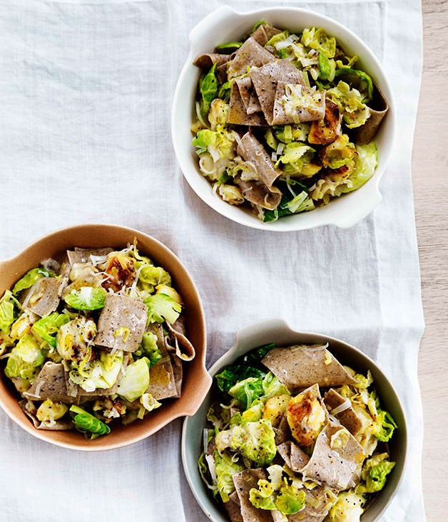 Buckwheat pasta with Brussels sprouts, Fontina and leek :: Gourmet ...