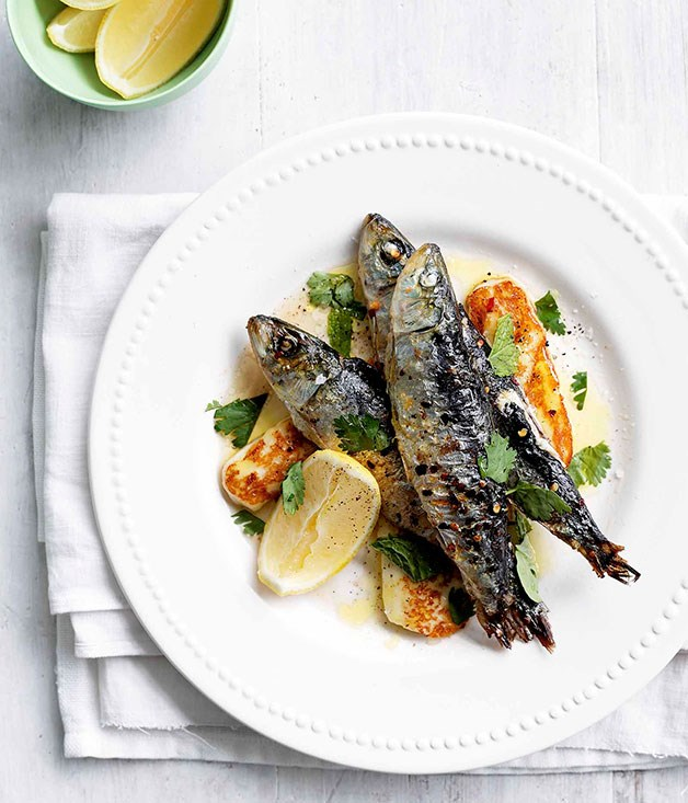 February sardines grilled with chilli haloumi and mint for Gourmet fish recipes