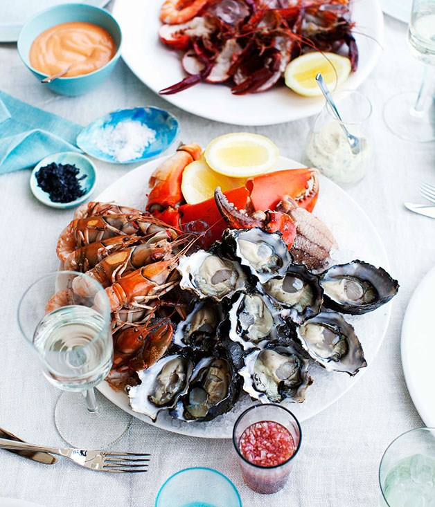 Dietmar Sawyere: Seafood platter with three sauces ...