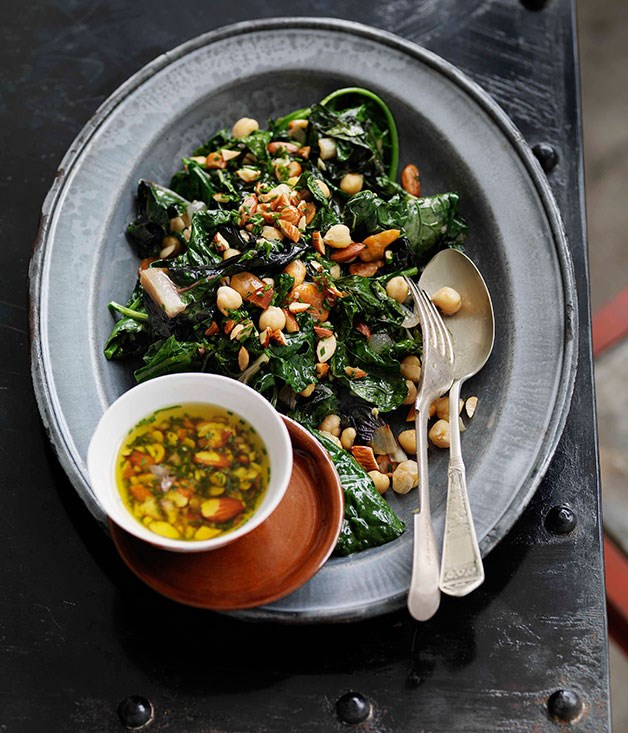 ... greens and beans, smoked almonds and garlic :: Gourmet Traveller