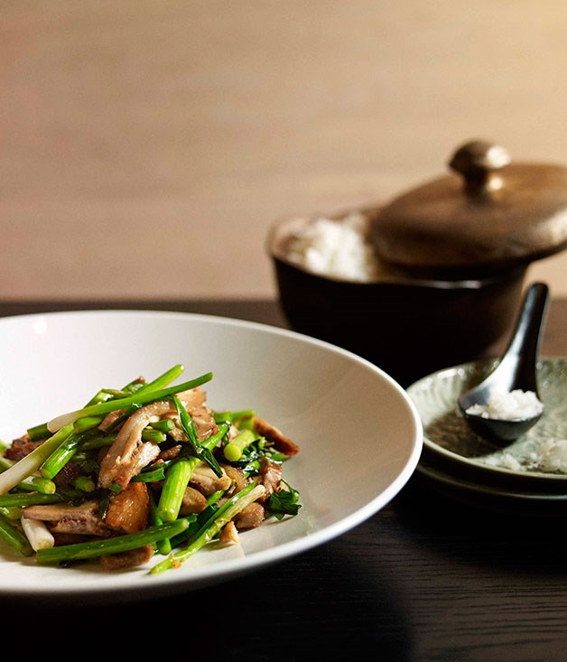 Neil Perry: Stir-fried salt pork with garlic chives and garlic stems ...