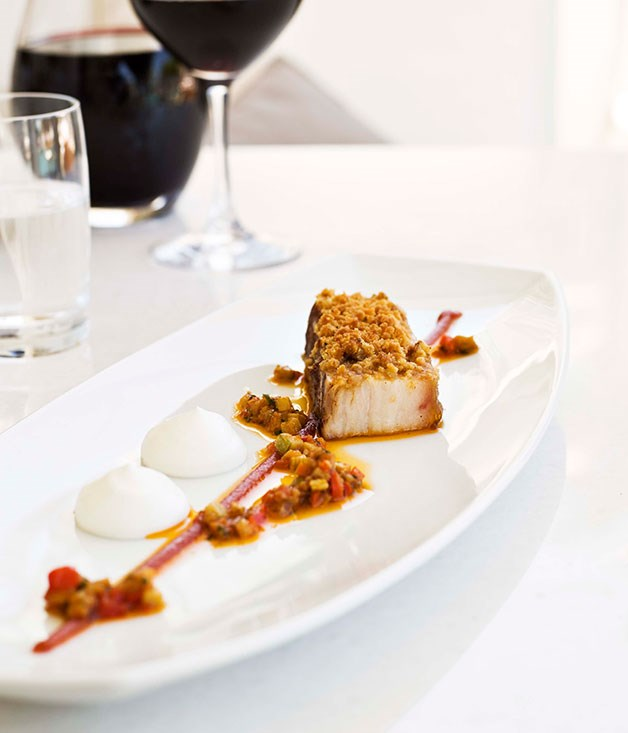 Pork belly with moussaka vinaigrette gourmet traveller for Fine dining gourmet recipes
