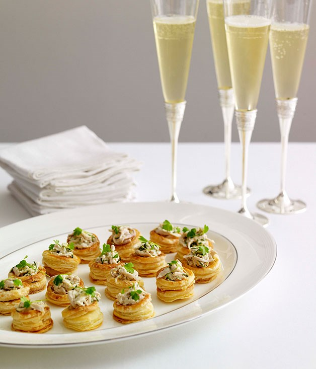 Champagne chicken vol au vents gourmet traveller for Gourmet canape ideas