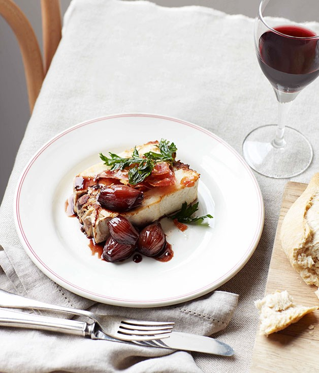Chicken and red wine terrine with braised shallots ...