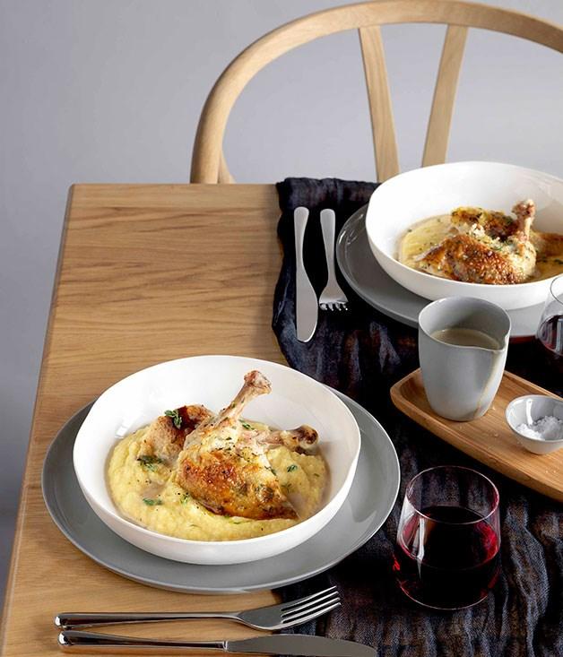 Roast chicken with polenta and wild mushroom sauce :: Gourmet ...
