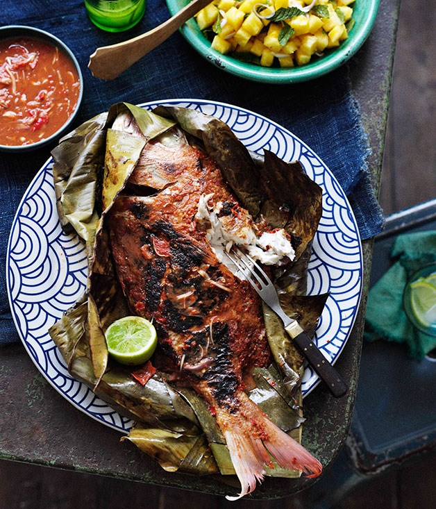 Barbecued snapper in banana leaves with sambal belacan for Gourmet fish recipes