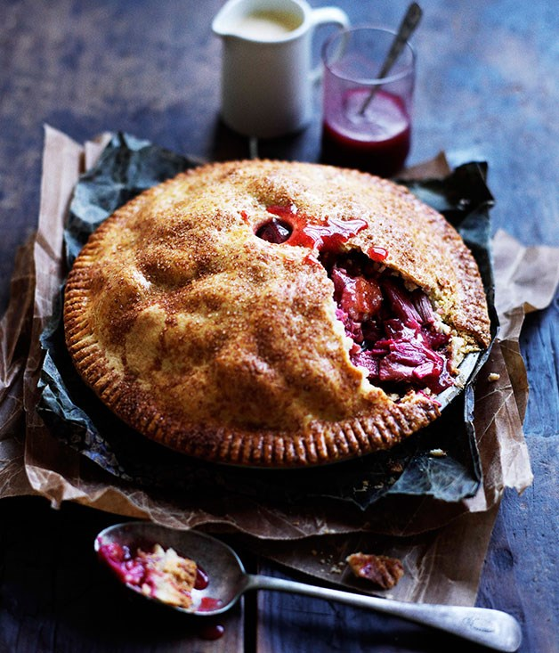 Rhubarb and apple pie with warm cinnamon custard recipe :: Gourmet ...