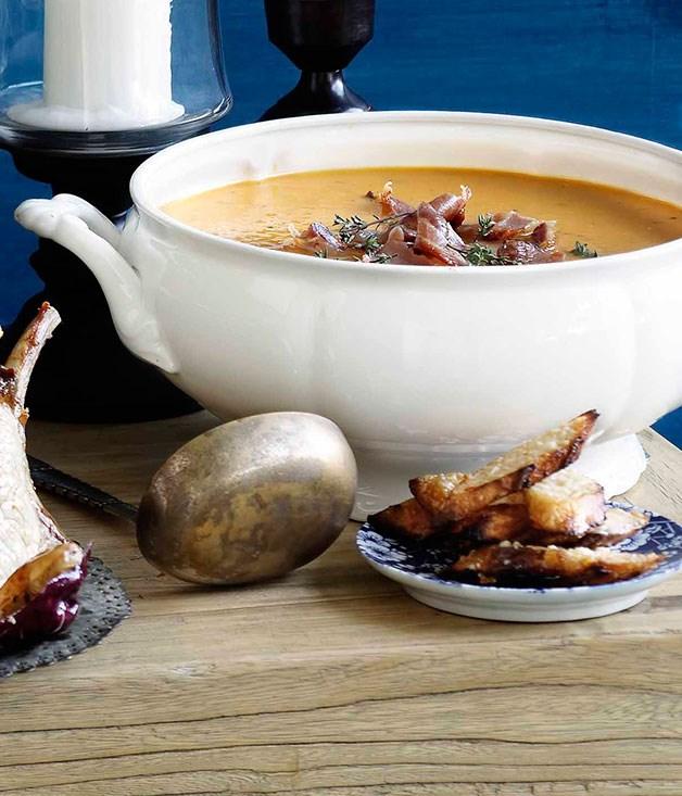Roast pumpkin soup with pancetta and parmesan :: Gourmet ...