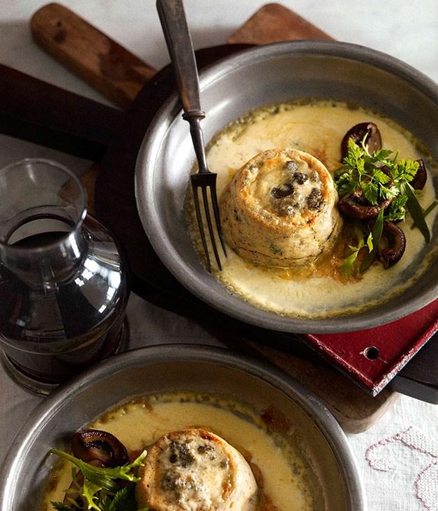 Twice-baked Roquefort and mushroom soufflé :: Gourmet Traveller