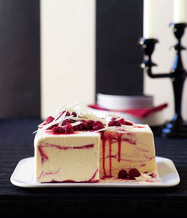 White chocolate and raspberry-ripple ice-cream cake ...