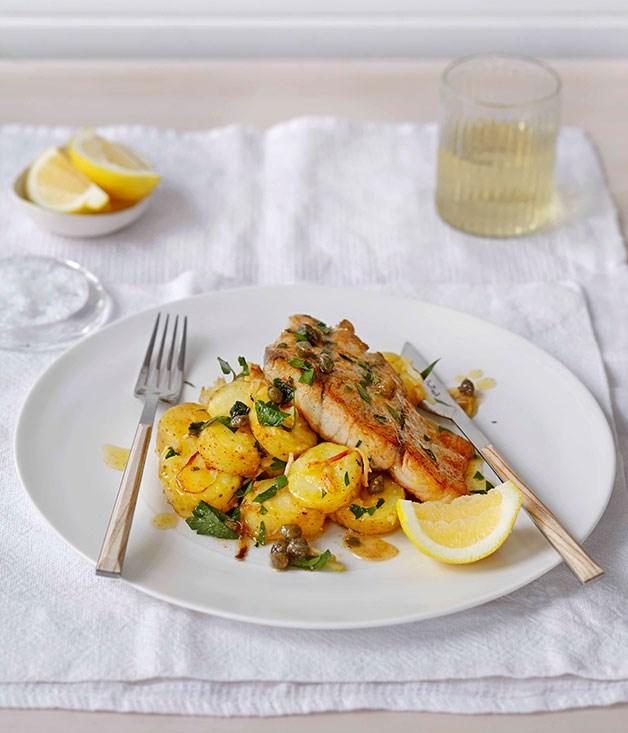 Roast barramundi with kipfler potatoes and celeriac for Barramundi fish taste